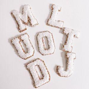 White Monogram Gold Glitter Chenille Letter Patch